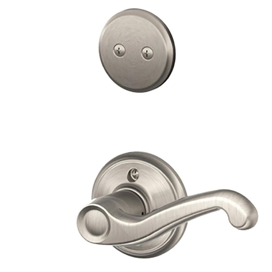 Schlage Flair 1-5/8-in to 1-3/4-in Satin Nickel Non-Keyed Lever Entry Door Interior Handle