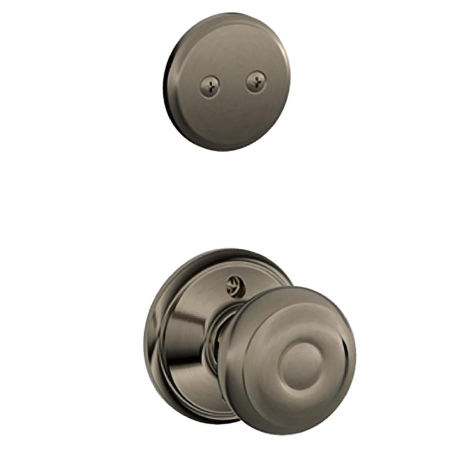 Schlage Georgian 1-5/8-in to 1-3/4-in Antique Pewter Non-Keyed Knob Entry Door Interior Handle