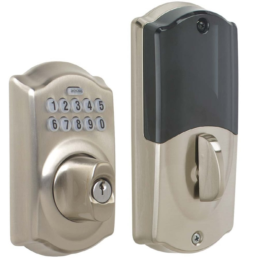 Schlage LiNK Satin Nickel Single-Cylinder Electronic Entry Door Deadbolt with Keypad