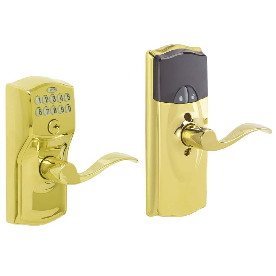 Schlage Schlage Link Bright Brass Universal Electronic Entry Door Lever