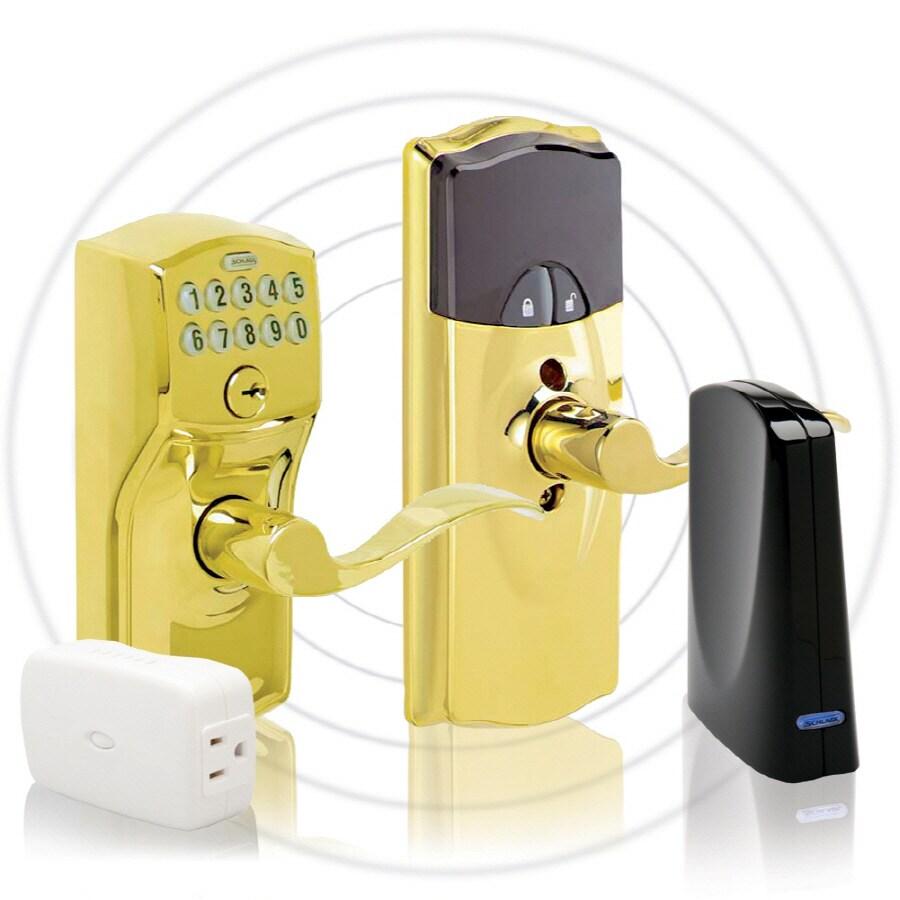 Schlage Schlage Link Bright Brass Universal Electronic Entry Door Lever