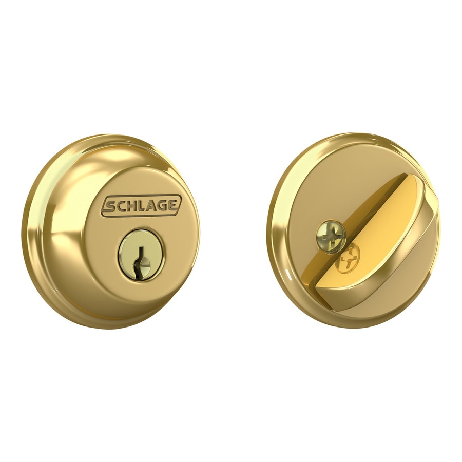 Shop Schlage Bright Brass Single Cylinder Deadbolt At