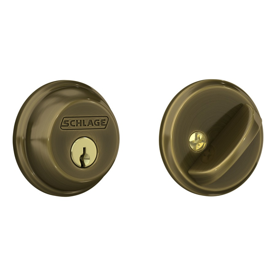 Shop Schlage Antique Brass Single Cylinder Deadbolt At