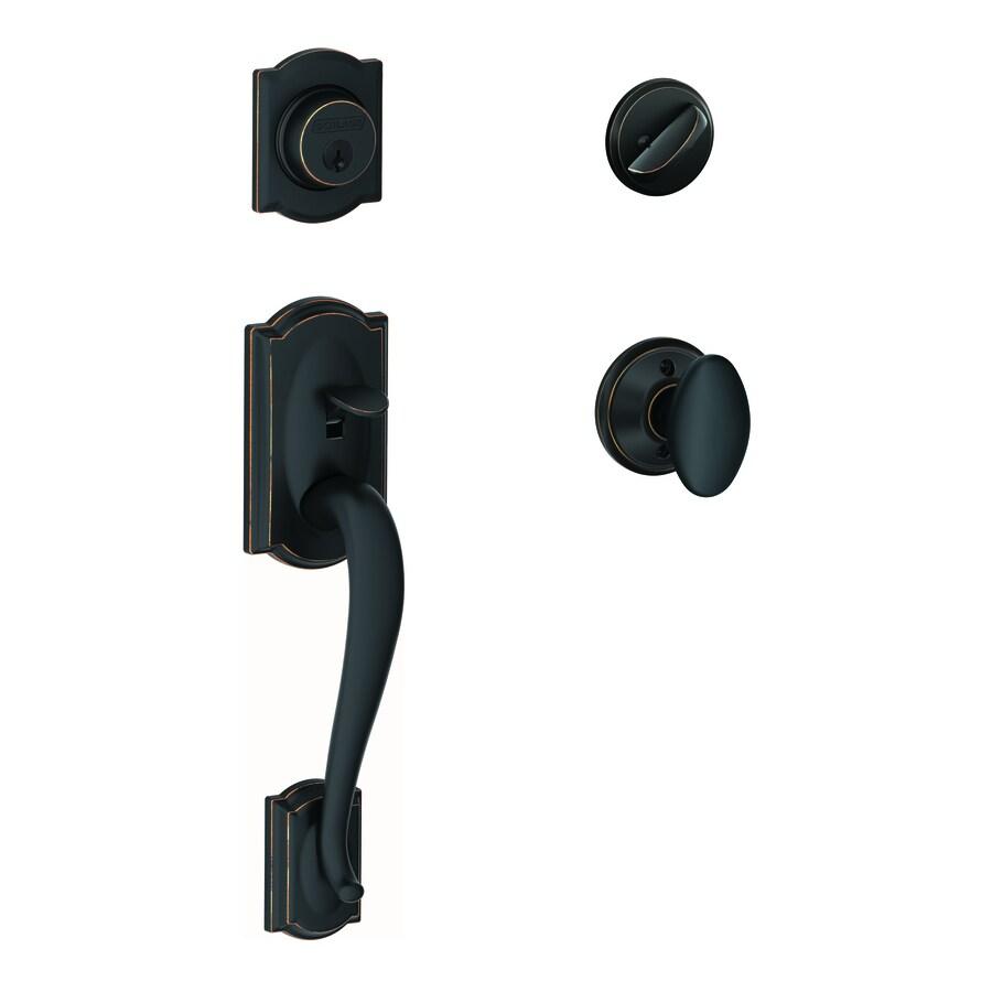 Schlage Camelot Aged Bronze Single-Lock Keyed Entry Door Handleset