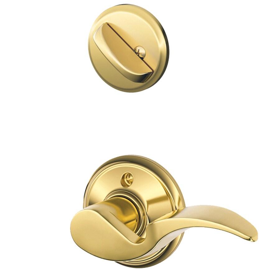 Schlage Avanti 1-5/8-in to 1-3/4-in Bright Brass Single Cylinder Lever Entry Door Interior Handle