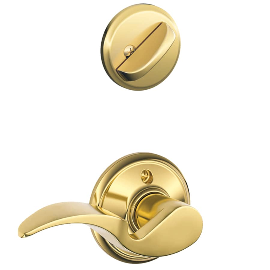 Schlage Avanti 1-5/8-in to 1-3/4-in Bright Brass Single Cylinder Lever Entry Door Interior Handle