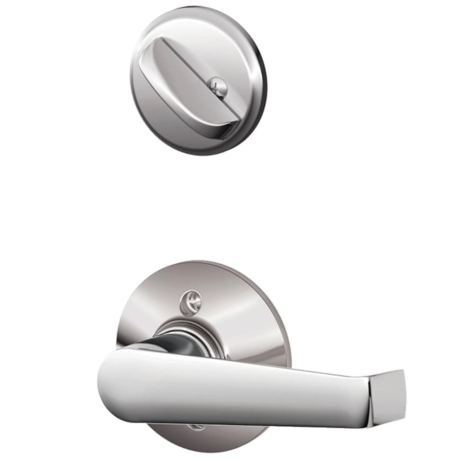 Schlage Elan 1-5/8-in to 1-3/4-in Bright Chrome Single Cylinder Lever Entry Door Interior Handle