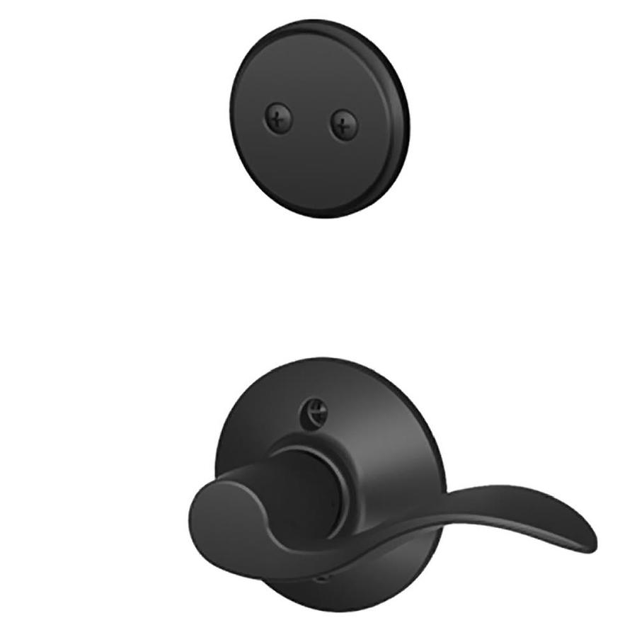 Schlage Accent 1-5/8-in to 1-3/4-in Matte Black Non-Keyed Lever Entry Door Interior Handle