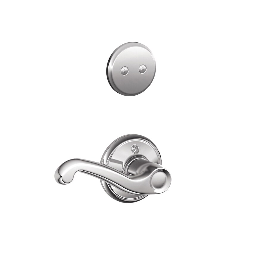 Schlage Flair 1-5/8-in to 1-3/4-in Bright Chrome Non-Keyed Lever Entry Door Interior Handle
