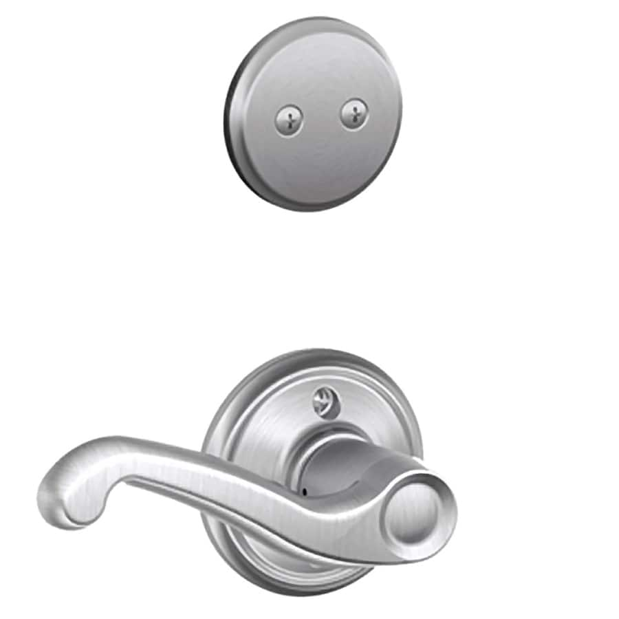 Schlage Flair 1-5/8-in to 1-3/4-in Satin Chrome Non-Keyed Lever Entry Door Interior Handle