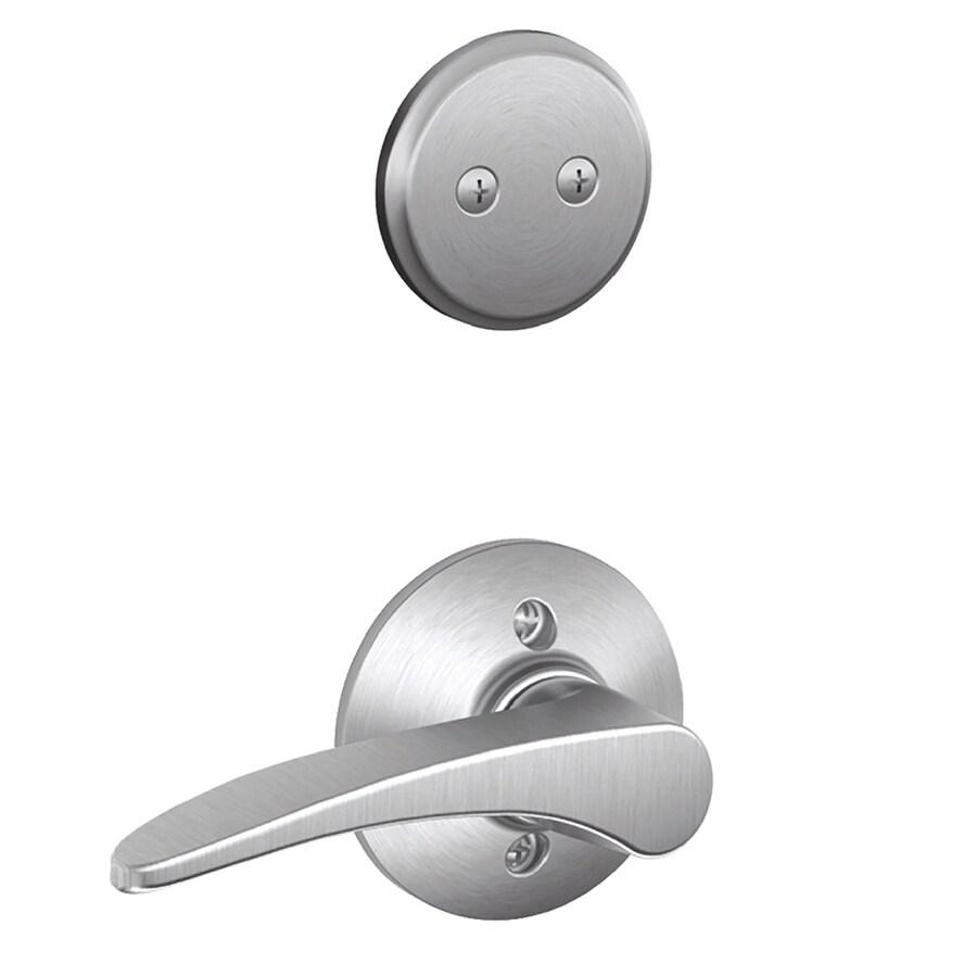 Schlage Manhattan 1-5/8-in to 1-3/4-in Satin Chrome Non-Keyed Lever Entry Door Interior Handle