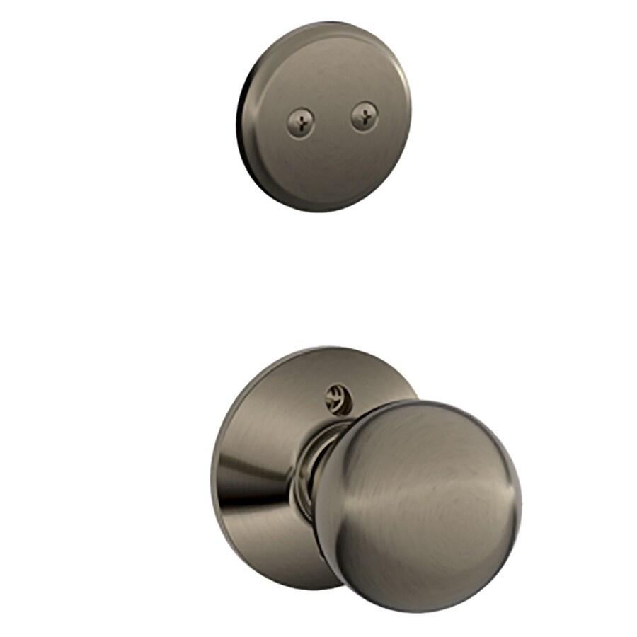 Schlage Orbit 1-5/8-in to 1-3/4-in Antique Pewter Non-Keyed Knob Entry Door Interior Handle