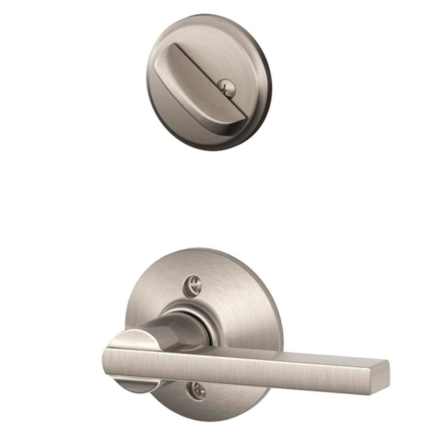 Shop Schlage Latitude 1 5 8 In To 1 3 4 In Satin Nickel Single Cylinder Lever Entry Door