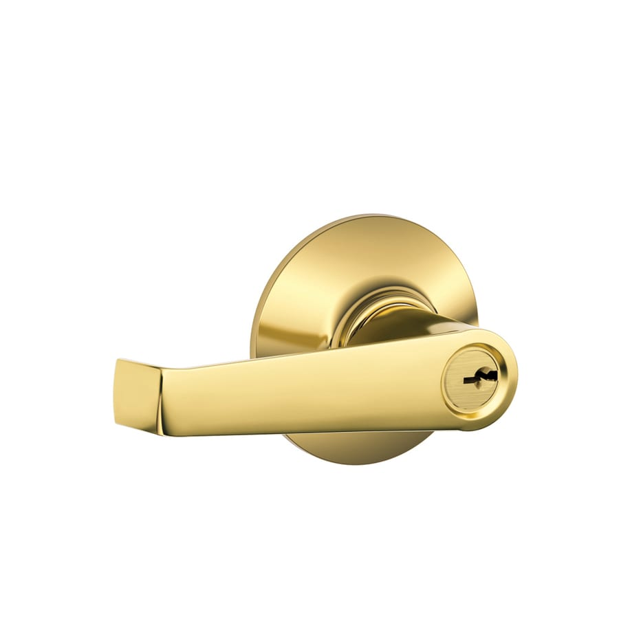 Schlage F Elan Traditional Lifetime Bright Brass Universal Keyed Entry Door Lever
