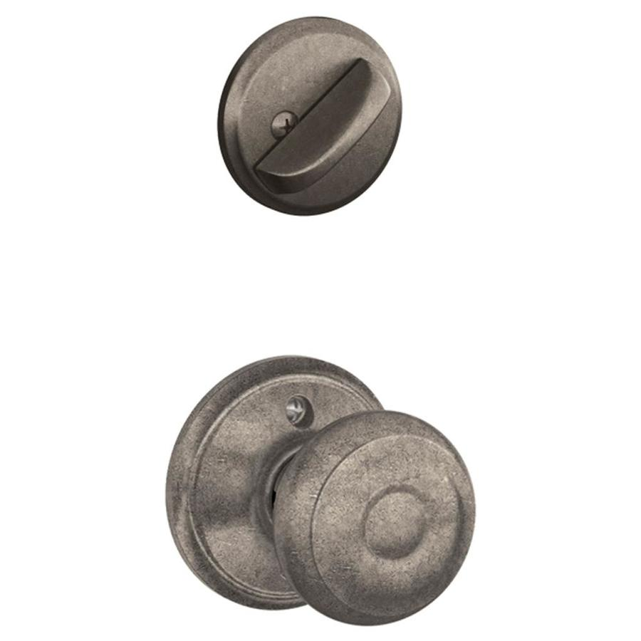 Schlage Georgian 1-5/8-in to 1-3/4-in Distressed Nickel Single Cylinder Knob Entry Door Interior Handle