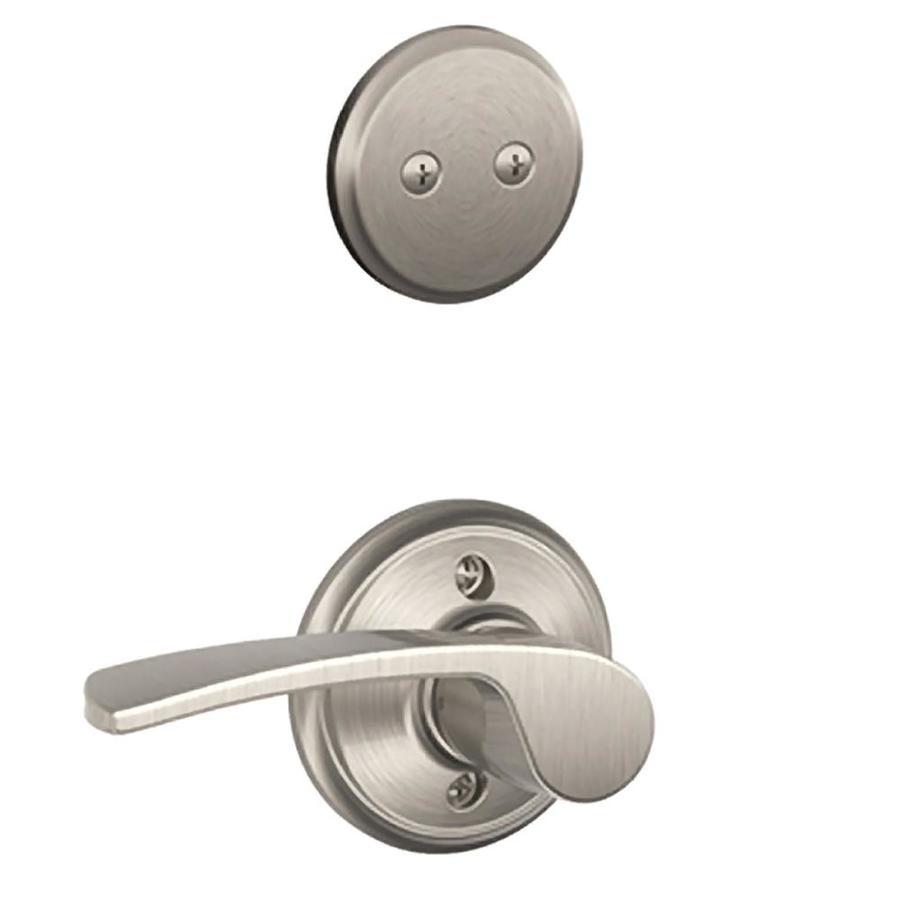 Schlage Merano 1-5/8-in to 1-3/4-in Satin Nickel Non-Keyed Lever Entry Door Interior Handle