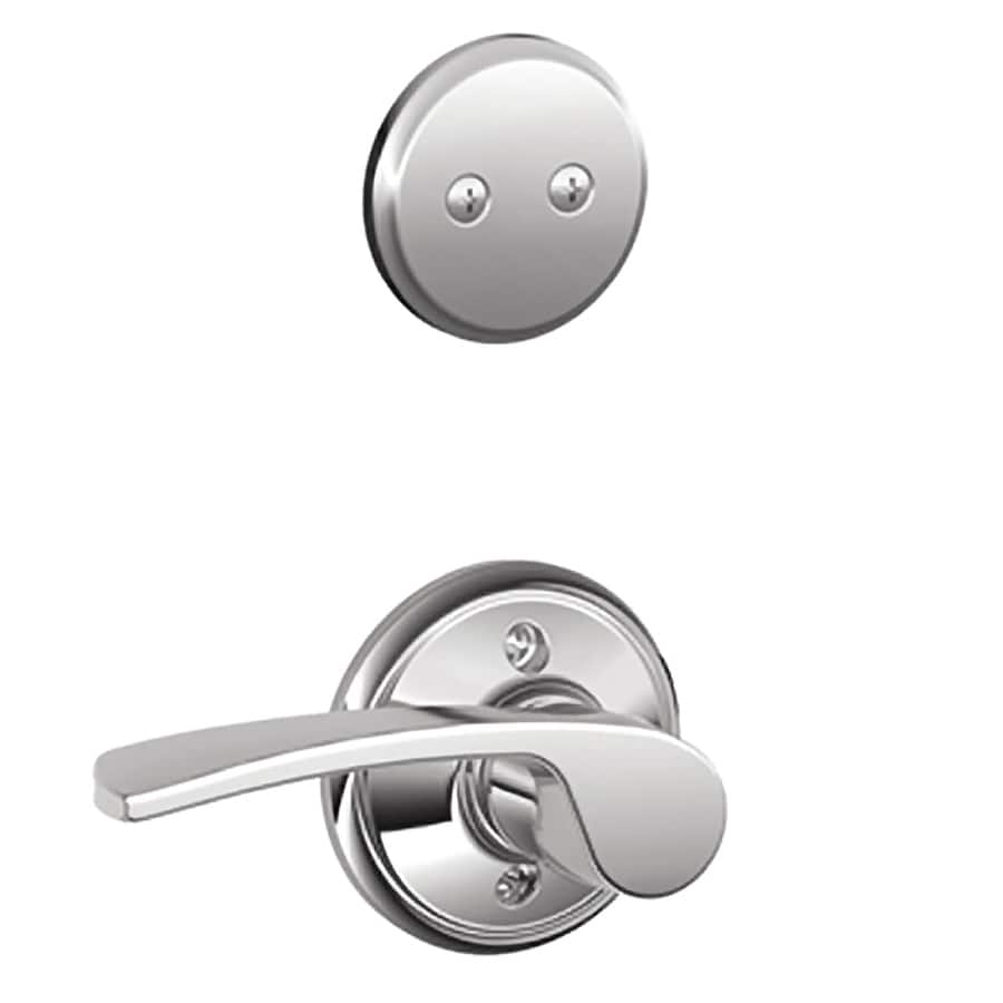 Schlage Merano 1-5/8-in to 1-3/4-in Bright Chrome Non-Keyed Lever Entry Door Interior Handle