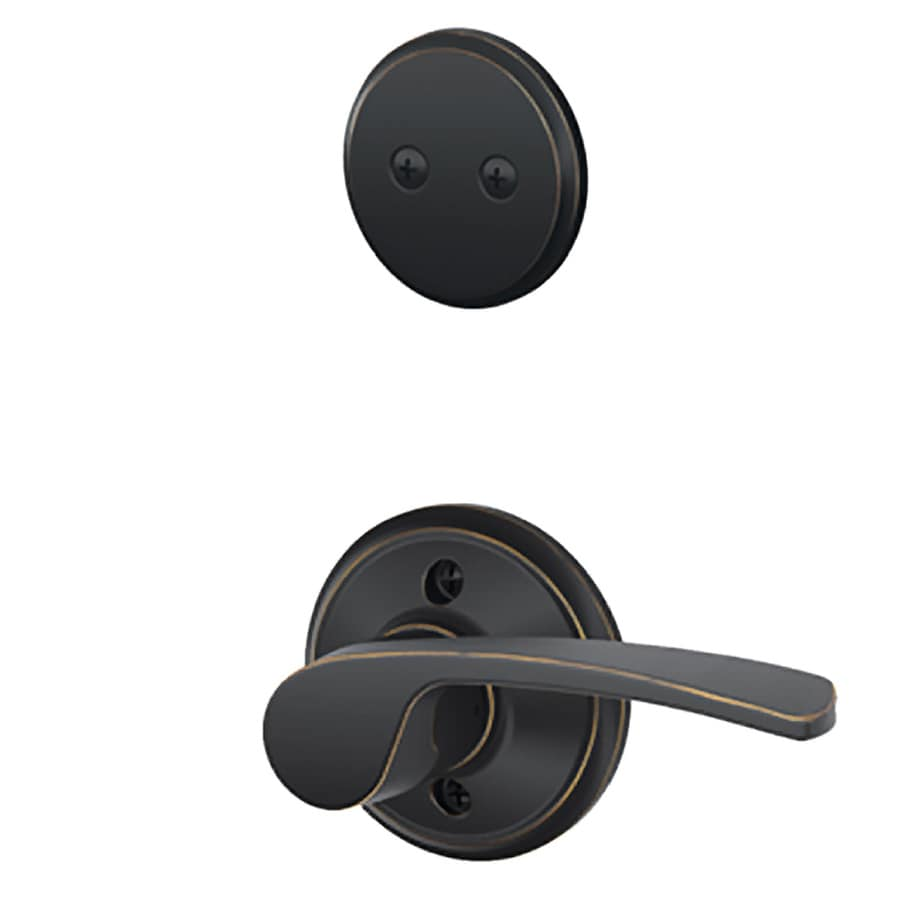 Schlage Merano 1-5/8-in to 1-3/4-in Aged Bronze Non-Keyed Lever Entry Door Interior Handle