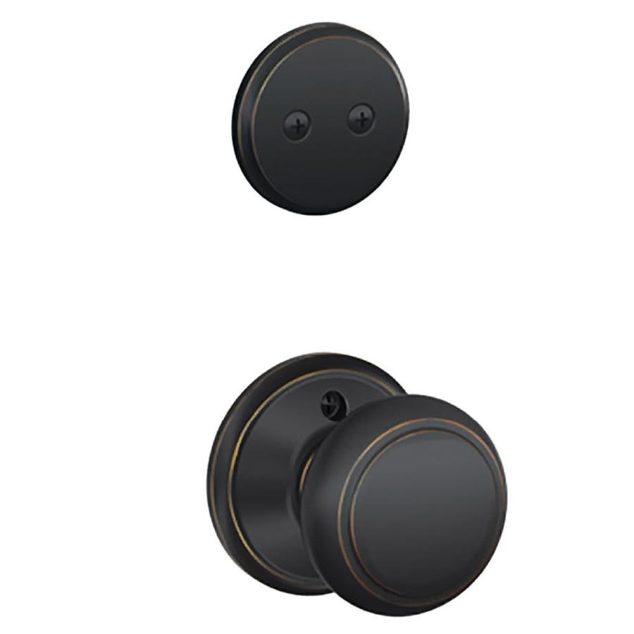 Schlage Andover 1-5/8-in to 1-3/4-in Aged Bronze Non-Keyed Knob Entry Door Interior Handle