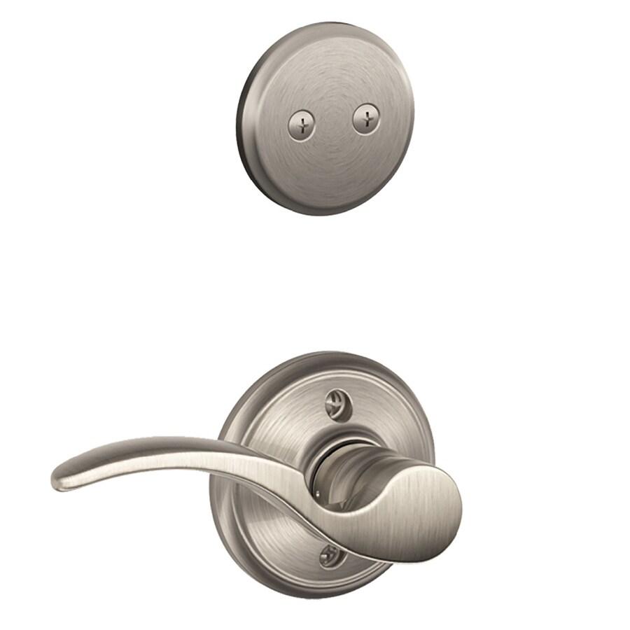 Schlage St Annes 1-5/8-in to 1-3/4-in Satin Nickel Non-Keyed Lever Entry Door Interior Handle