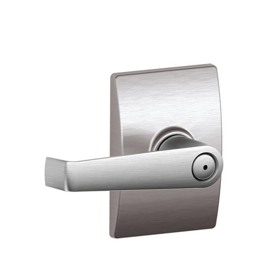 Schlage F Decorative Century Collections Elan Satin ChromePush-Button Lock Privacy Door Lever