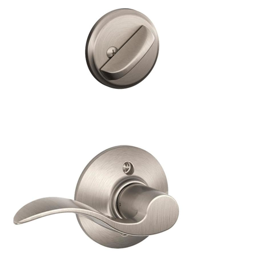 Shop Schlage Accent 1 5 8 In To 1 3 4 In Satin Nickel Single Cylinder Lever Entry Door Interior