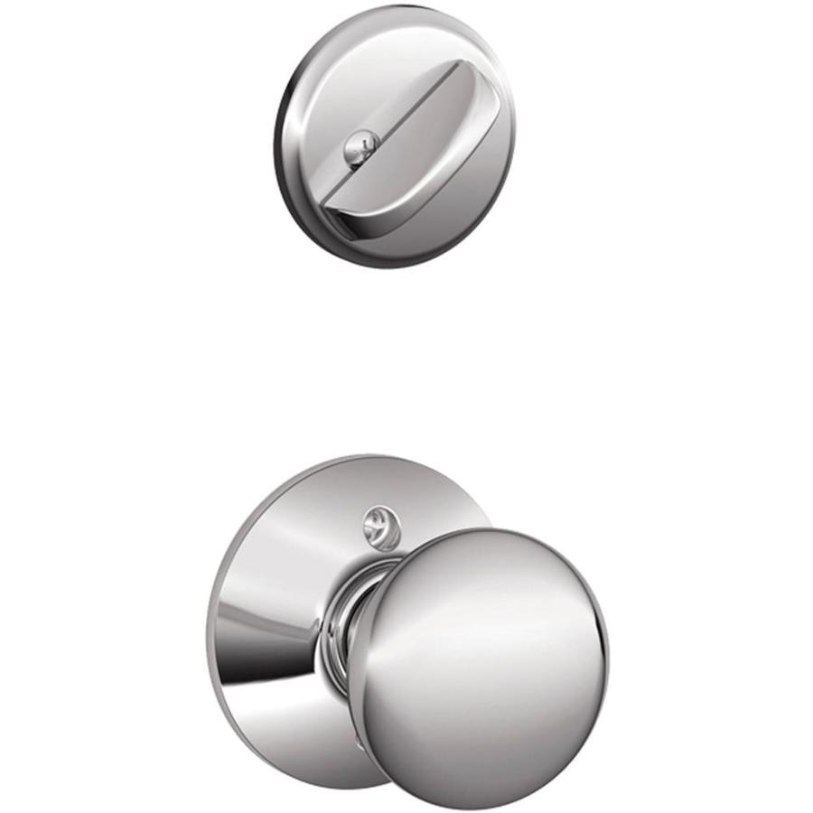 Schlage Plymouth 1-5/8-in to 1-3/4-in Bright Chrome Single Cylinder Knob Entry Door Interior Handle