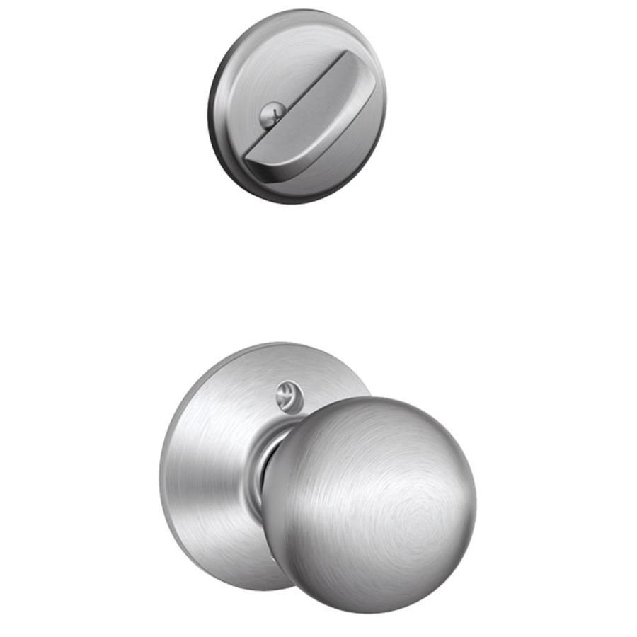 Schlage Orbit 1-5/8-in to 1-3/4-in Satin Chrome Single Cylinder Knob Entry Door Interior Handle