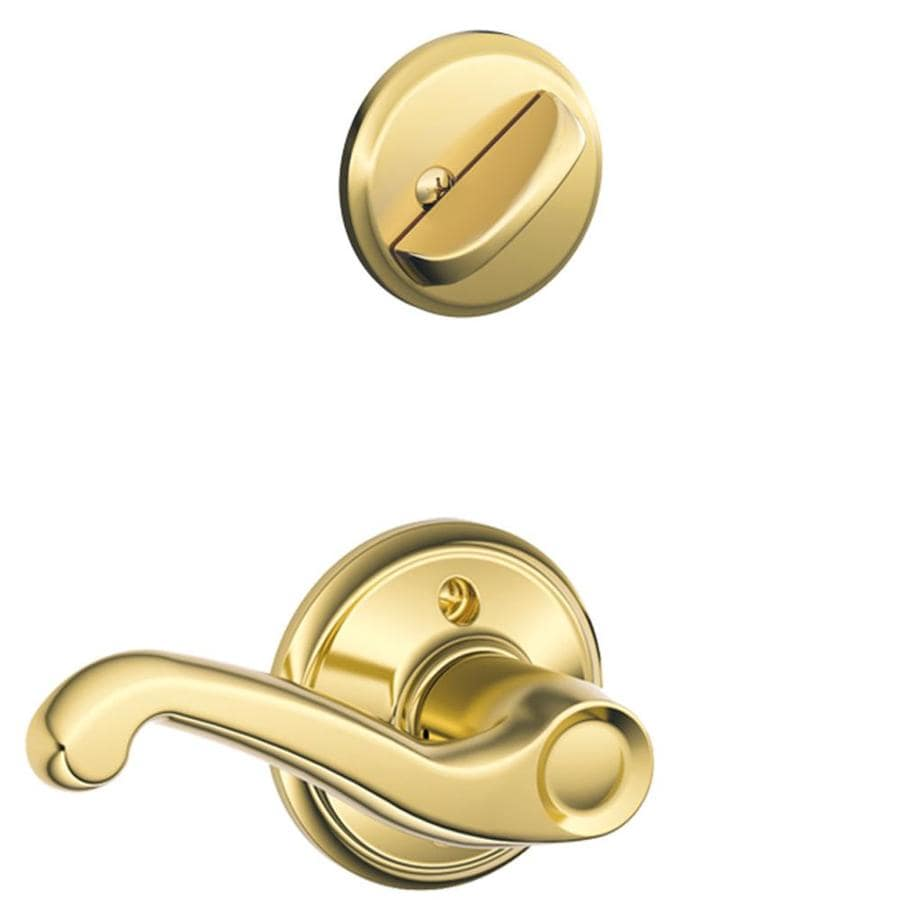 Shop Schlage Flair 1 5 8 In To 1 3 4 In Bright Brass Single Cylinder Lever Entry Door Interior