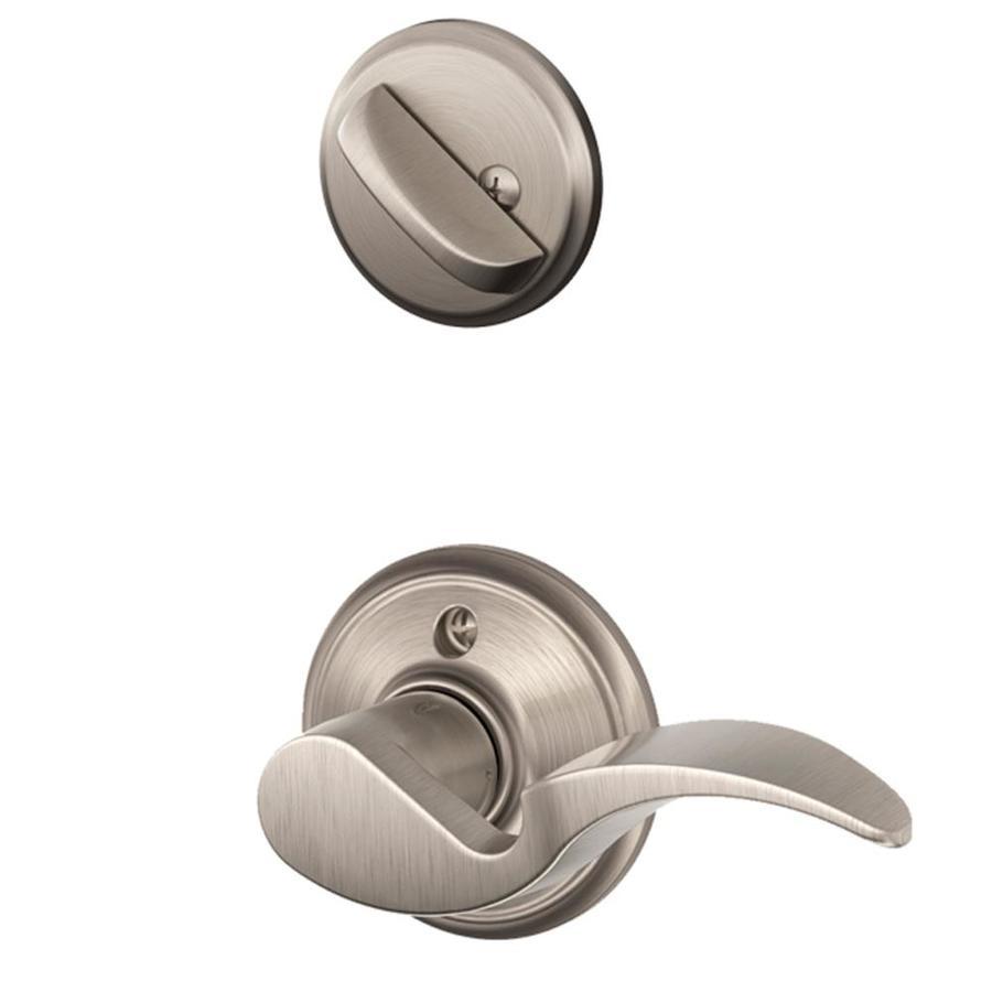 Shop schlage avanti 1 5 8 in to 1 3 4 in satin nickel for Exterior lever door handles