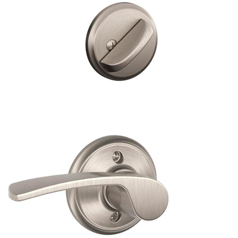 Schlage Merano 1-5/8-in to 1-3/4-in Satin Nickel Single Cylinder Lever Entry Door Interior Handle