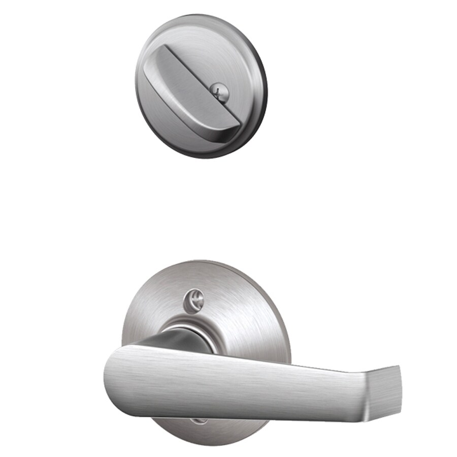 Shop Schlage Elan 1 5 8 In To 1 3 4 In Satin Chrome Single Cylinder Lever Entry Door Interior