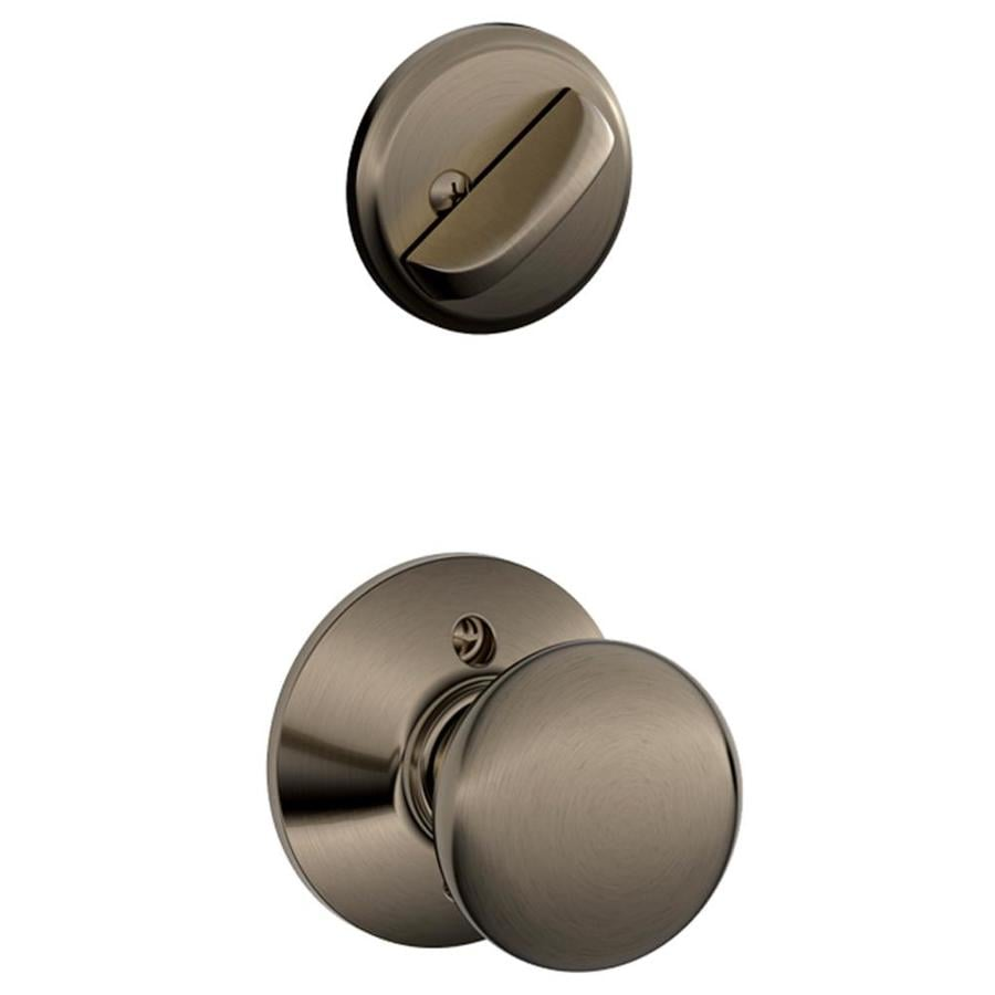 Schlage Plymouth 1-5/8-in to 1-3/4-in Antique Pewter Single Cylinder Knob Entry Door Interior Handle
