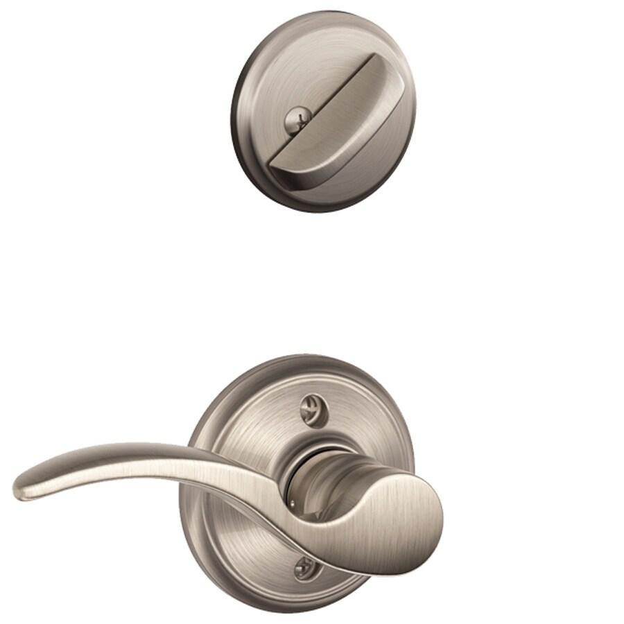 Schlage St Annes 1-5/8-in to 1-3/4-in Satin Nickel Single Cylinder Lever Entry Door Interior Handle