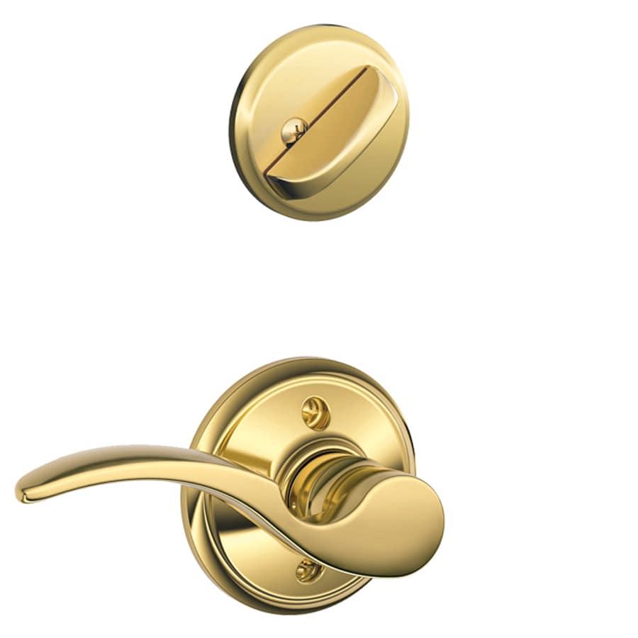 Schlage St Annes 1-5/8-in to 1-3/4-in Bright Brass Single Cylinder Lever Entry Door Interior Handle