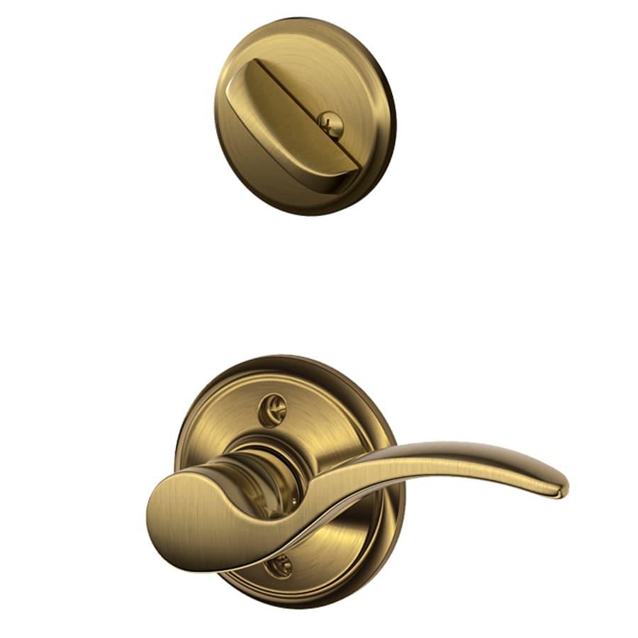 Schlage St Annes 1-5/8-in to 1-3/4-in Antique Brass Single Cylinder Lever Entry Door Interior Handle