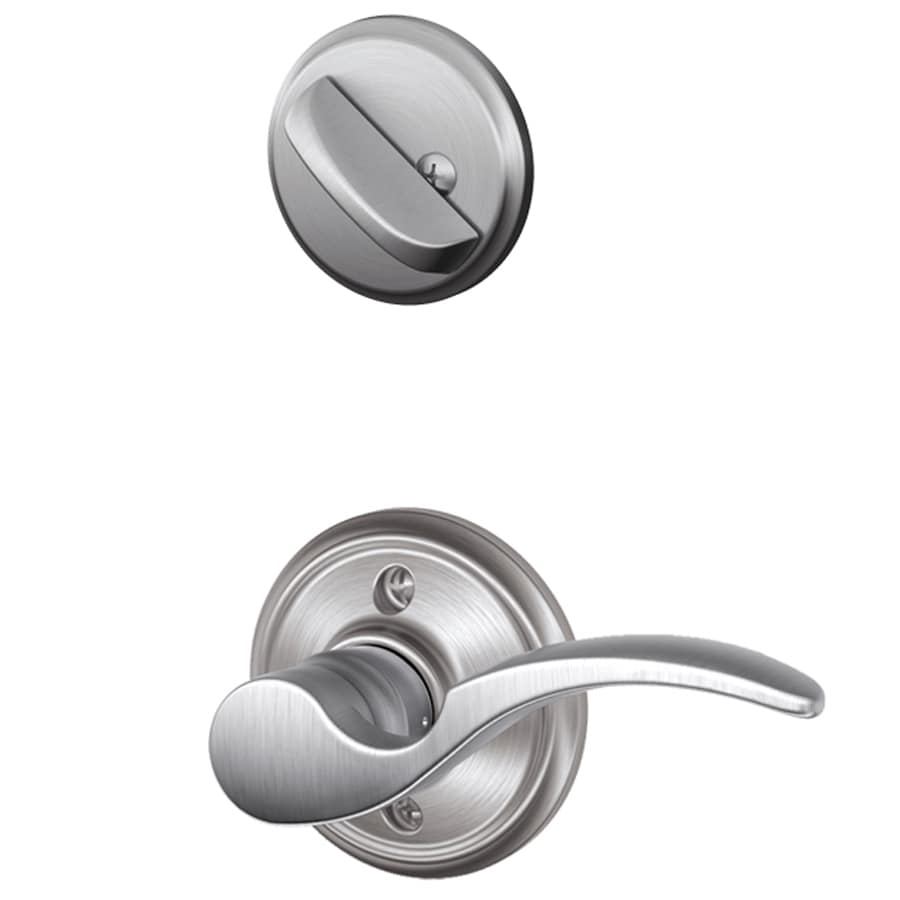 Schlage St Annes 1-5/8-in to 1-3/4-in Satin Chrome Single Cylinder Lever Entry Door Interior Handle