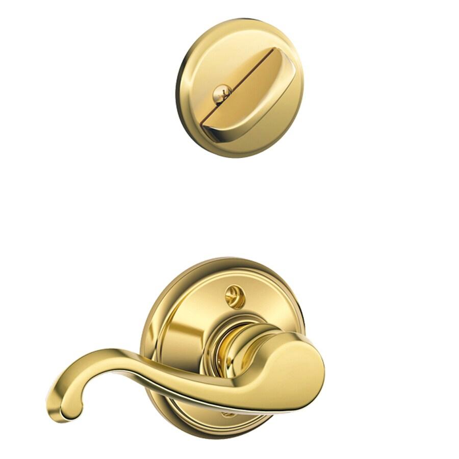 Schlage Callington 1-5/8-in to 1-3/4-in Bright Brass Single Cylinder Lever Entry Door Interior Handle