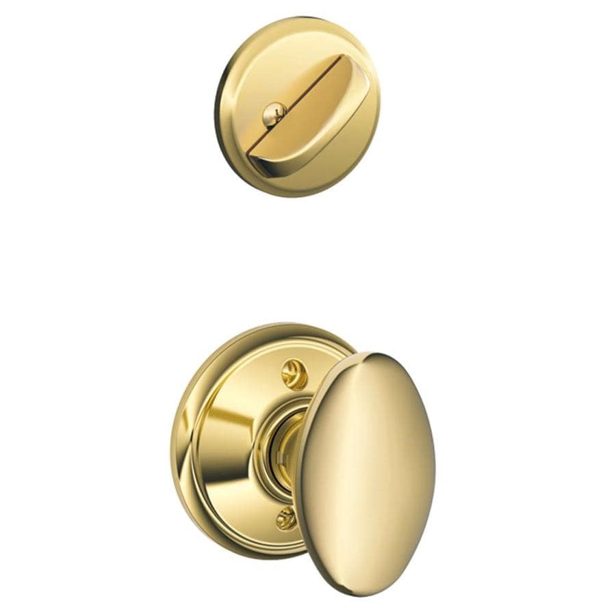 Schlage Siena 1-5/8-in to 1-3/4-in Bright Brass Single Cylinder Knob Entry Door Interior Handle