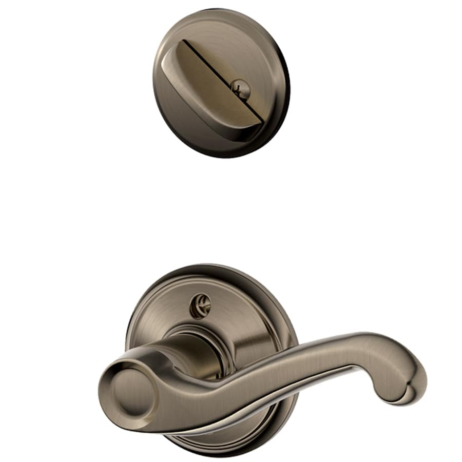 Shop Schlage Flair 1 3 8 In To 1 3 4 In Antique Pewter Traditional Single Cylinder Lever Entry
