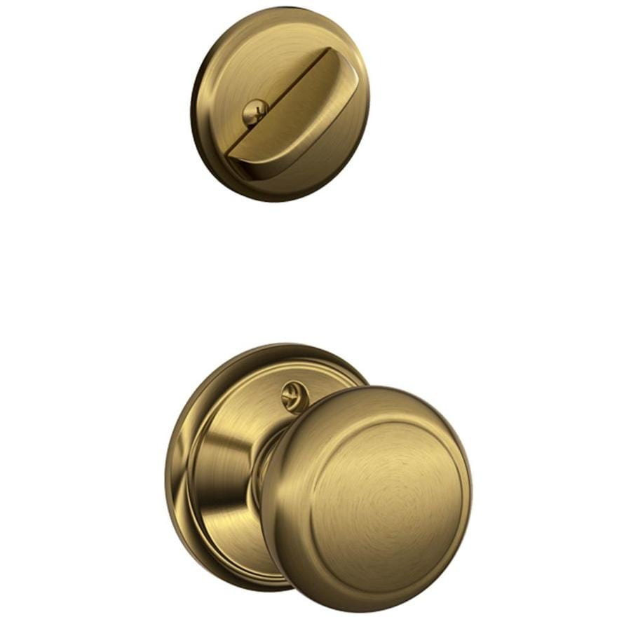 Schlage Andover 1-5/8-in to 1-3/4-in Antique Brass Single Cylinder Knob Entry Door Interior Handle