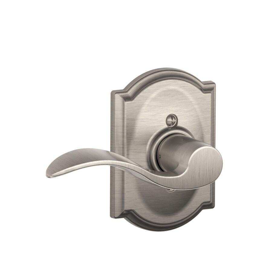 Schlage Camelot - Accent Satin Nickel Left-Handed Dummy Door Lever