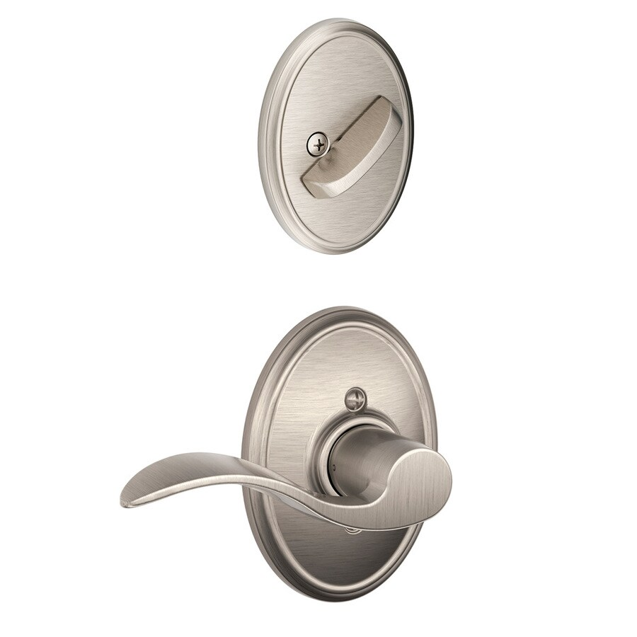 Schlage Accent x Wakefield Rose 1-5/8-in to 1-3/4-in Satin Nickel Non-Keyed Lever Entry Door Interior Handle