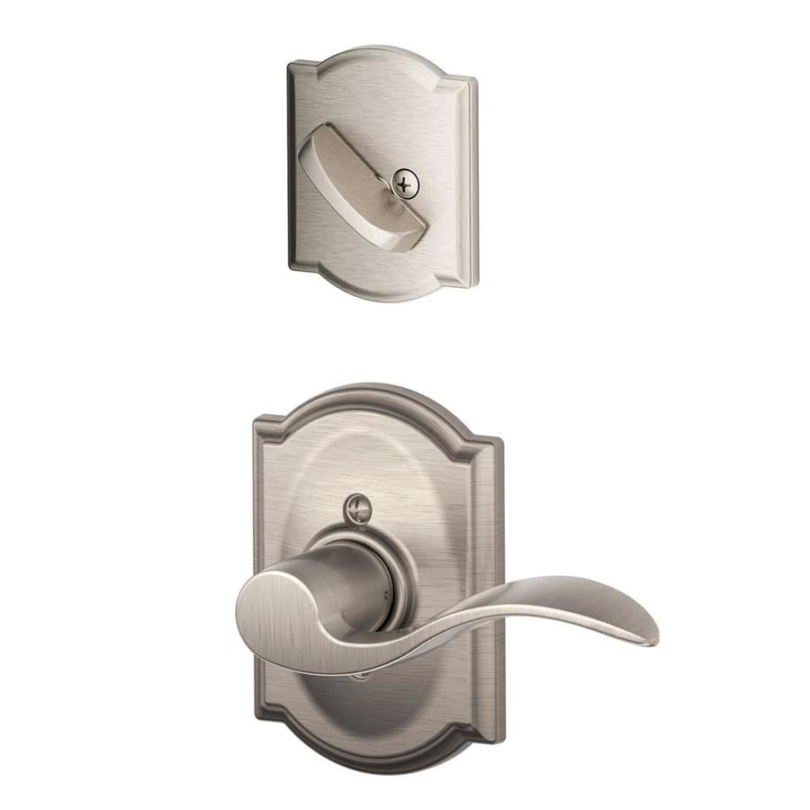 Shop Schlage Accent X Camelot Rose 1 5 8 In To 1 3 4 In Satin Nickel Traditional Single Cylinder