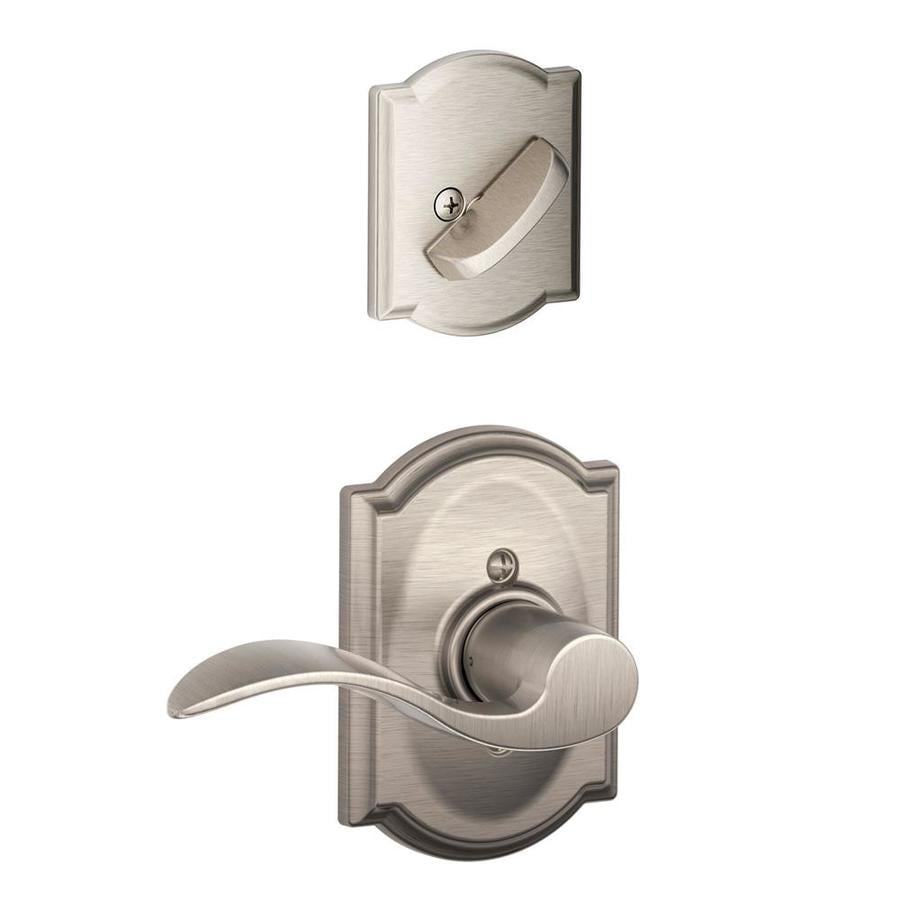 Schlage Accent x Camelot Rose 1-5/8-in to 1-3/4-in Satin Nickel Non-Keyed Lever Entry Door Interior Handle