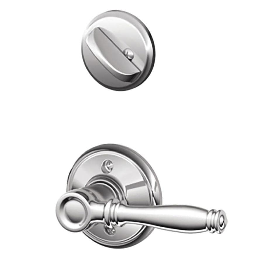 Schlage Birmingham 1-5/8-in to 1-3/4-in Bright Chrome Single Cylinder Lever Entry Door Interior Handle