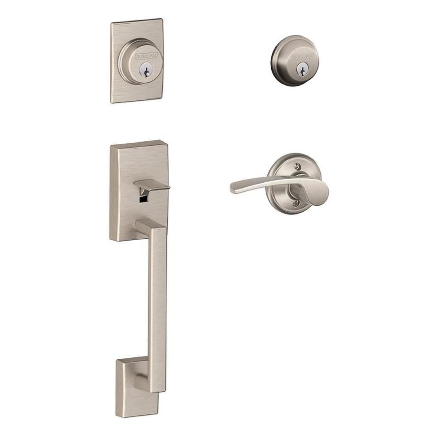 Schlage F Century x Merano Lever Satin Nickel Dual-Lock Keyed Entry Door Handleset