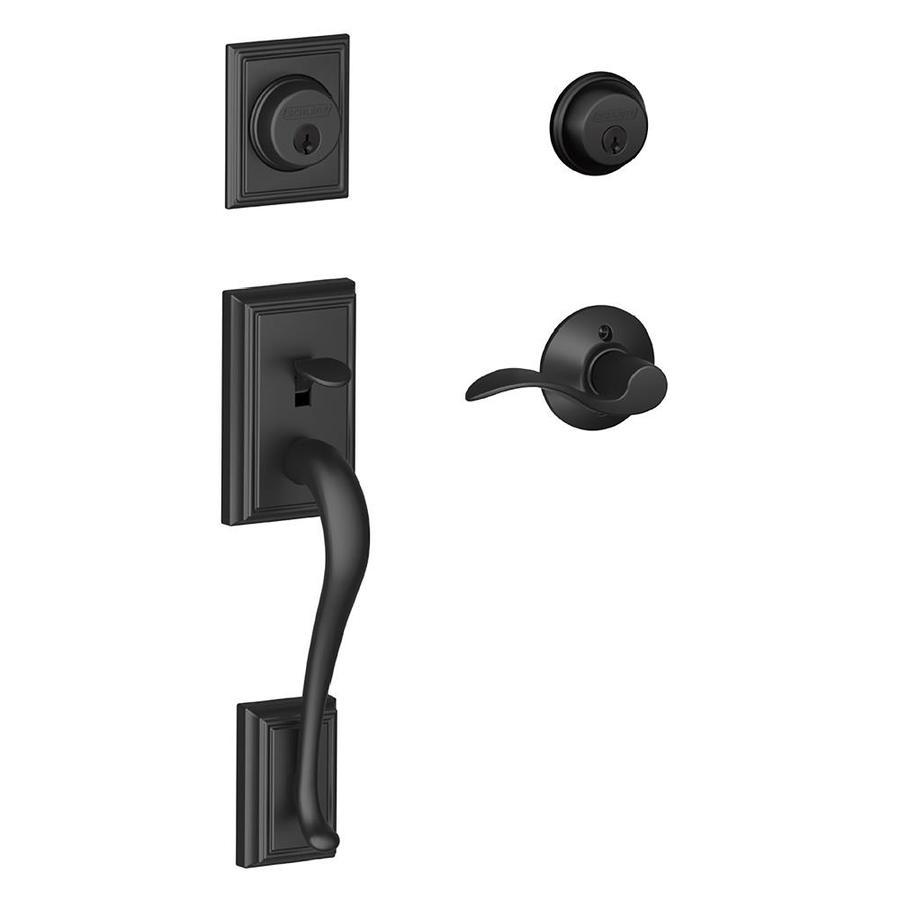 Shop Schlage F Addison X Accent Lever Matte Black Dual Lock Keyed Entry Door Handleset At