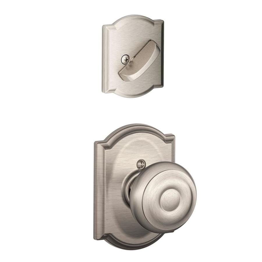 Schlage Georgian x Camelot Rose 1-5/8-in to 1-3/4-in Satin Nickel Traditional Single Cylinder Knob Entry Door Interior Handle