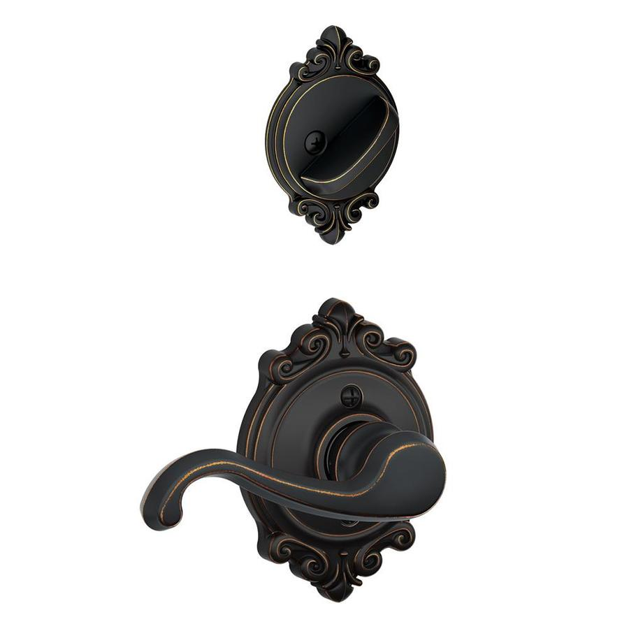 Schlage Flair x Brookshire Rose 1-5/8-in to 1-3/4-in Aged Bronze Traditional Single Cylinder Lever Entry Door Interior Handle